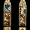 Crucifixion and Resurrection. Set of four windows in St. Michaels in Wheaton, IL. Depicting the last days of Jesus Christ.