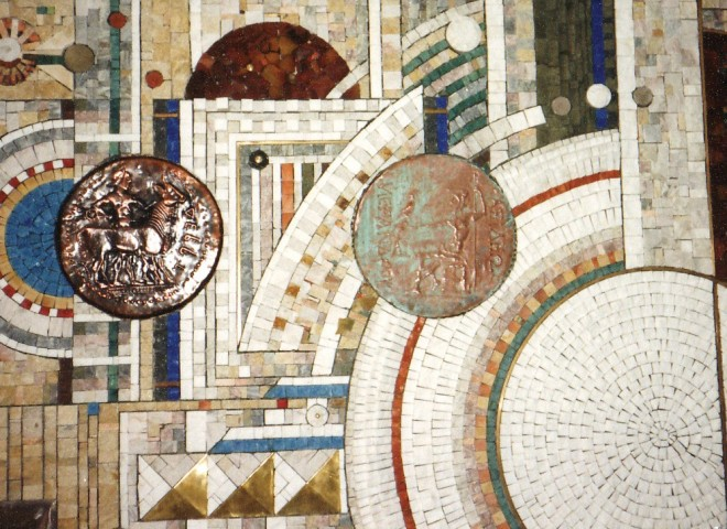 Mural mosaic in Bulgarian national bank